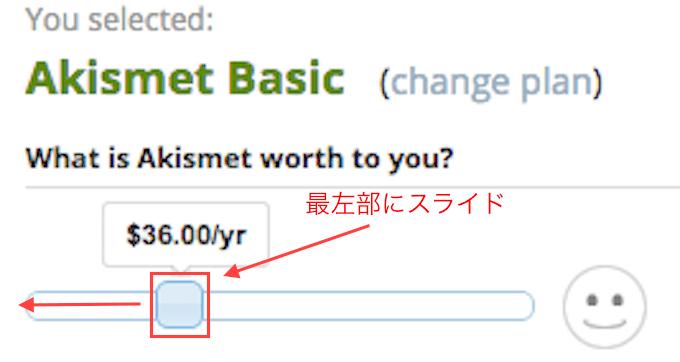 Akismet値段設定画面