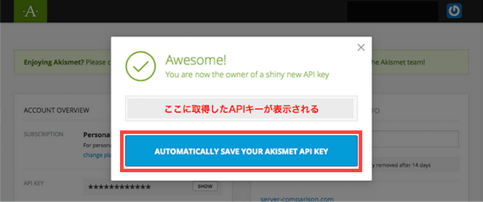 APIキー表示画面