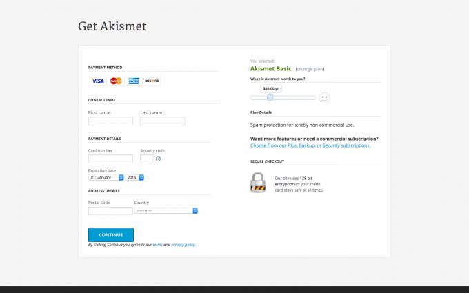 Akismet 値段設定画面