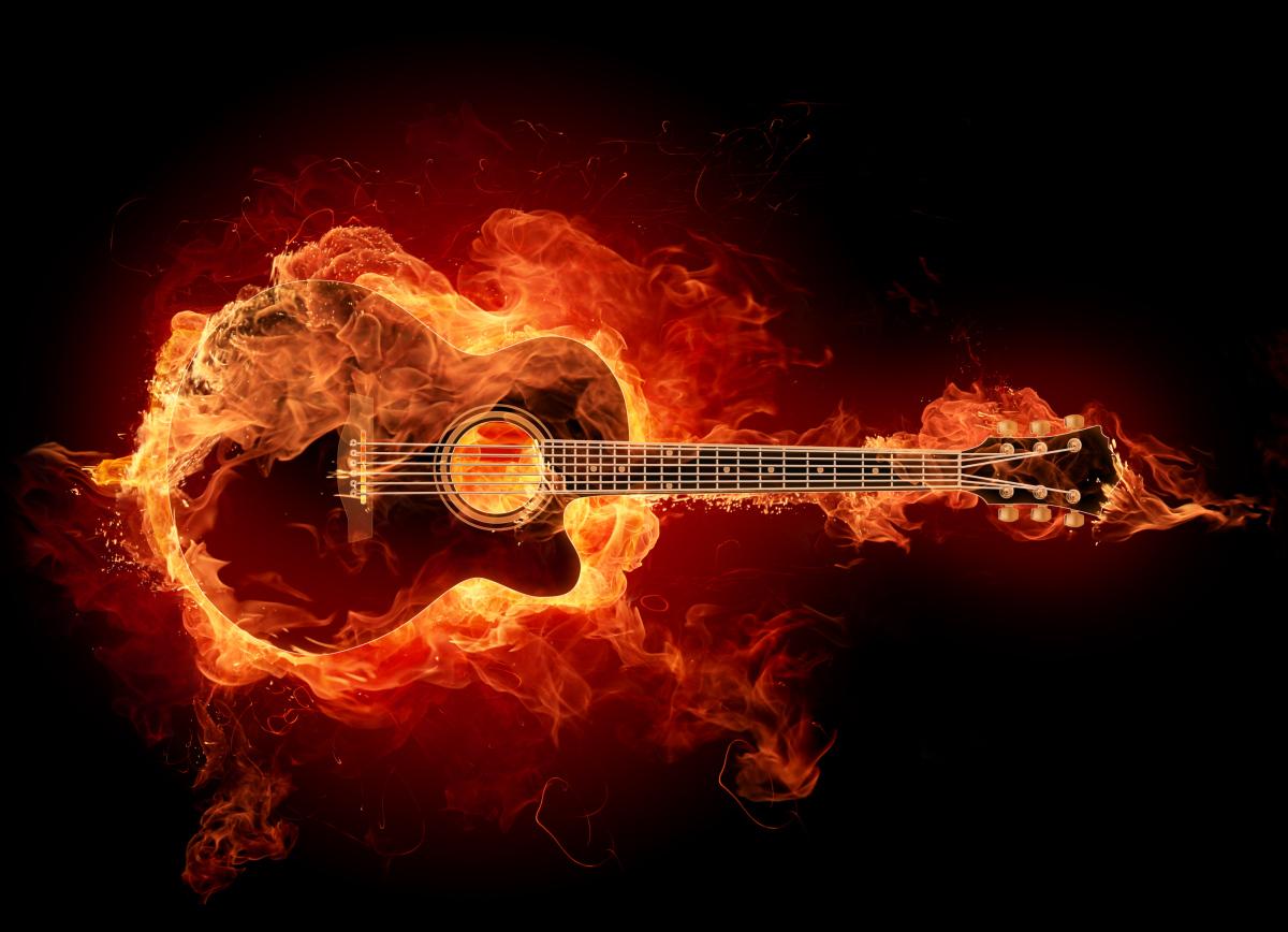 燃えるギター