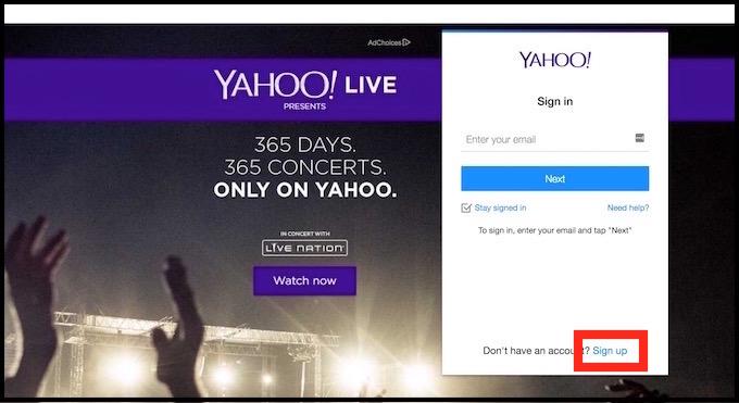 yahoo.comのサインアップ