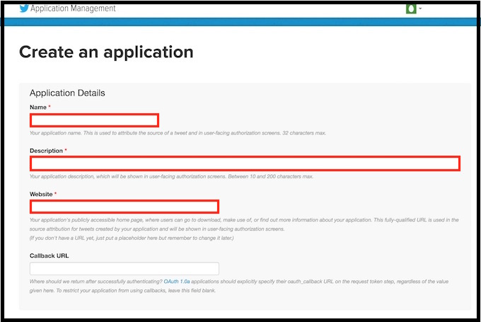TwitterのAPI Keyを取得する方法。Applicationに必要事項を記入する